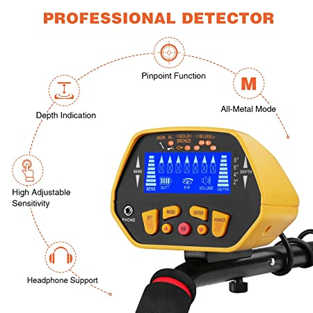 Amazon.com : CANWAY GC-1028 Metal Detector with Pinpoint Function for Kids, High Accuracy Gold Hunter with Waterproof Sensitive Search Coin Plus Shovel ...