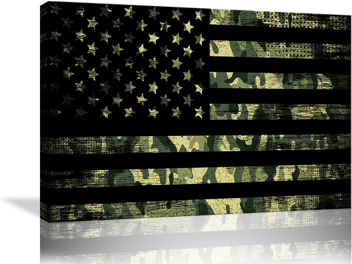 Camouflage American Flag Canvas Wall Art Military Poster Paintings Prints Pictures Modern US Flag Home Decor for Living Room Bedroom Painting Framed Ready to Hang (36''Wx24''H, Camo)