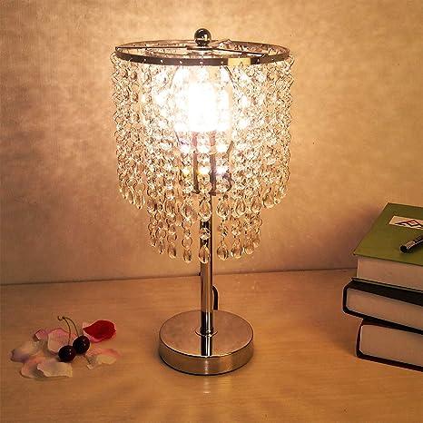 Hsyile Lighting KU300152 Crystal Chandelier For Bedroom Nightstand Table  Lamp,Finish Chrome,1 Light