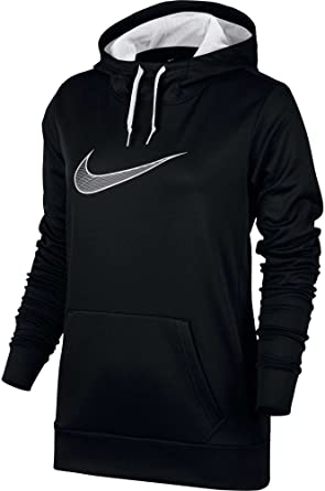 Nike Women's Therma All Time Graphic Hoodie (Black/White, ...