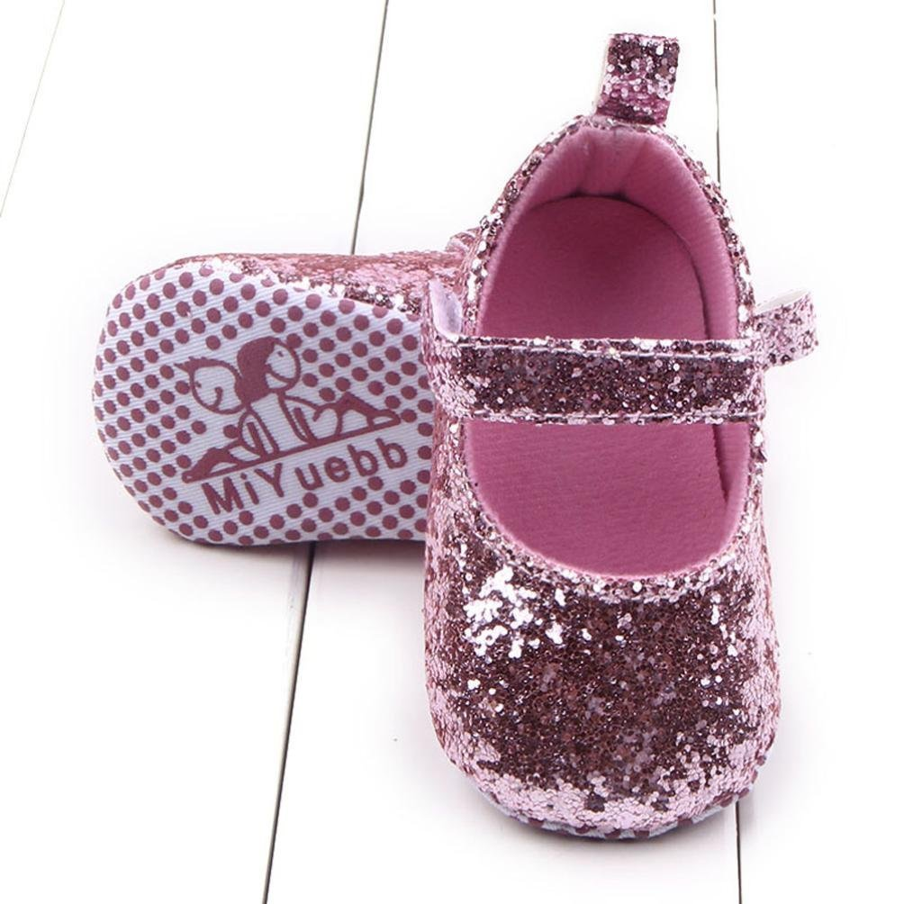 LUQUAN Toddler Girls Soft Sole Crib Shoes Sequins Sneaker Baby Shoes