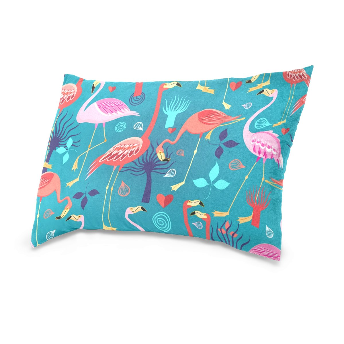 Cotton Velvet Pillowcases Flamingos Love Soft Pillow Protector with Hidden Zipper 20 x 26 Inch by My Little Nest (Image #2)