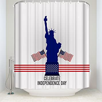 Independence Day Design With Statue Of Liberty Art Illustration Shower Curtain For Bathroom Dorm Decor