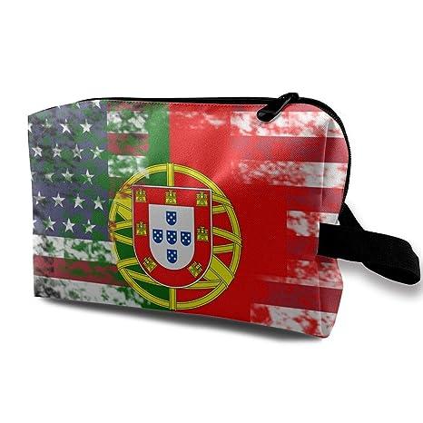 Retro Portugal Half America Flag Viajes Bolsa de Aseo Bolsas ...