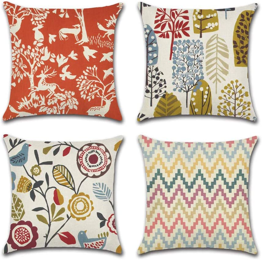 INSHERE Throw Pillow Covers Cartoon Flower and Leaves Cotton Linen Decorative Cushion Cases, Cozy Cushion Cover, Home Decor, Pack of 4, 18 X 18 Inches (Cartoon Flowers 2)