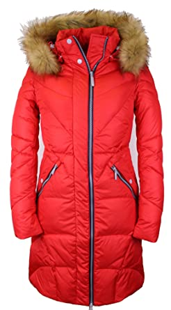 niedrigster Rabatt größter Rabatt große Auswahl MISS SUN G327 Damen Wintermantel SNOWIMAGE mit Kunstfellkapuze in  Daunen-Optik Farbe:rot
