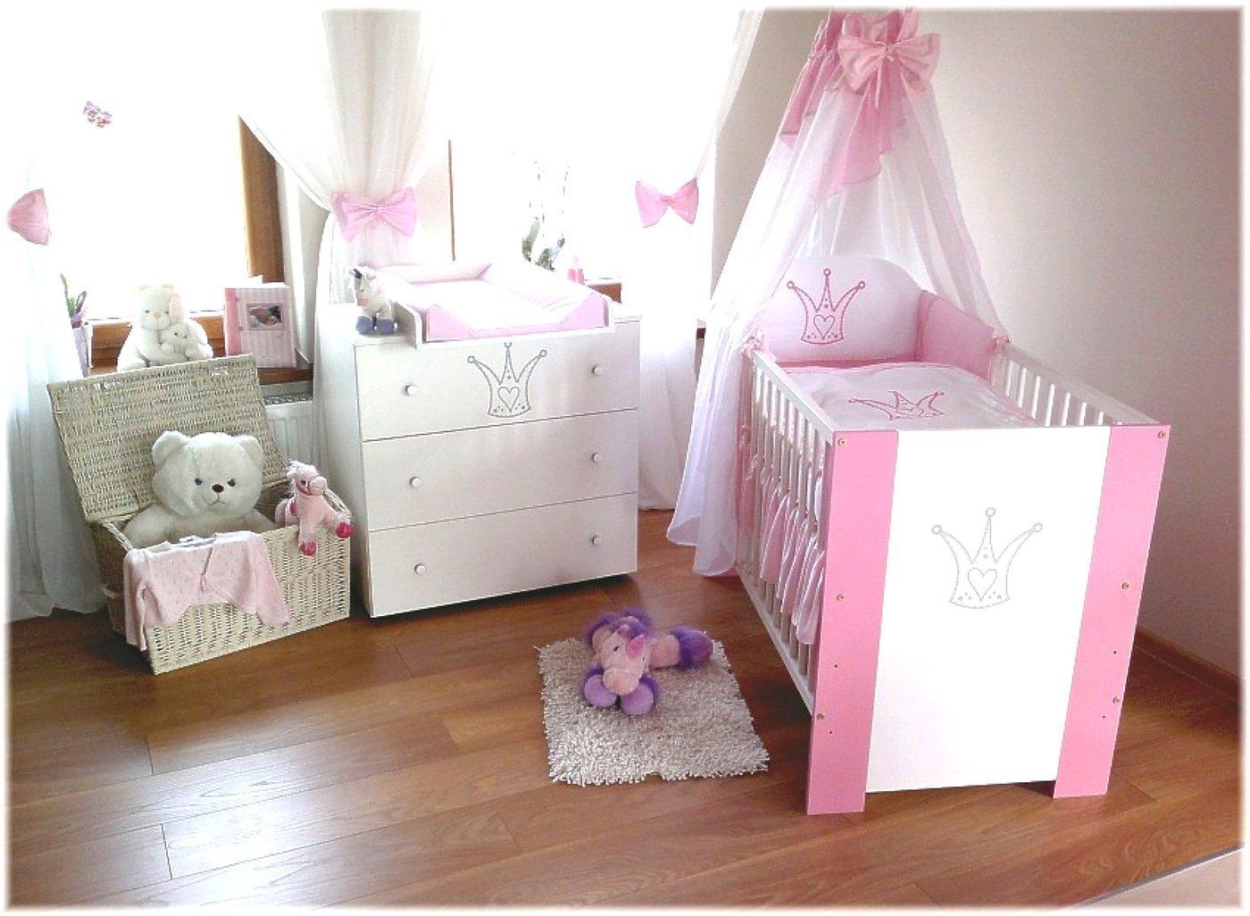 Chambre pour bébé fille pas cher incluant lit pour bébé, commode avec table à langer, sommier à lattes, matelas et parure de lit Rose