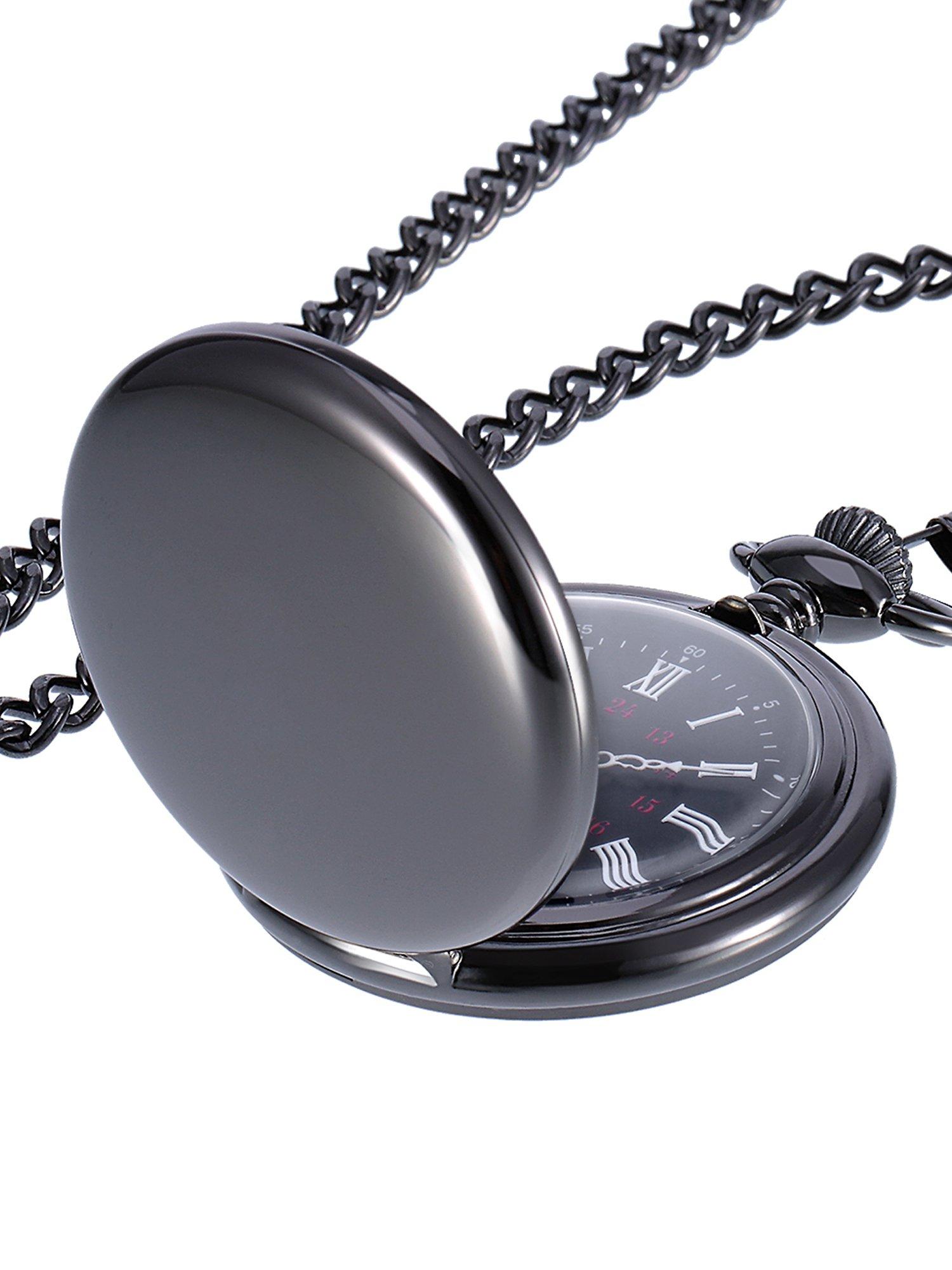 Mudder Smooth Antique Quartz Pocket Watch with Steel Chain (Black)