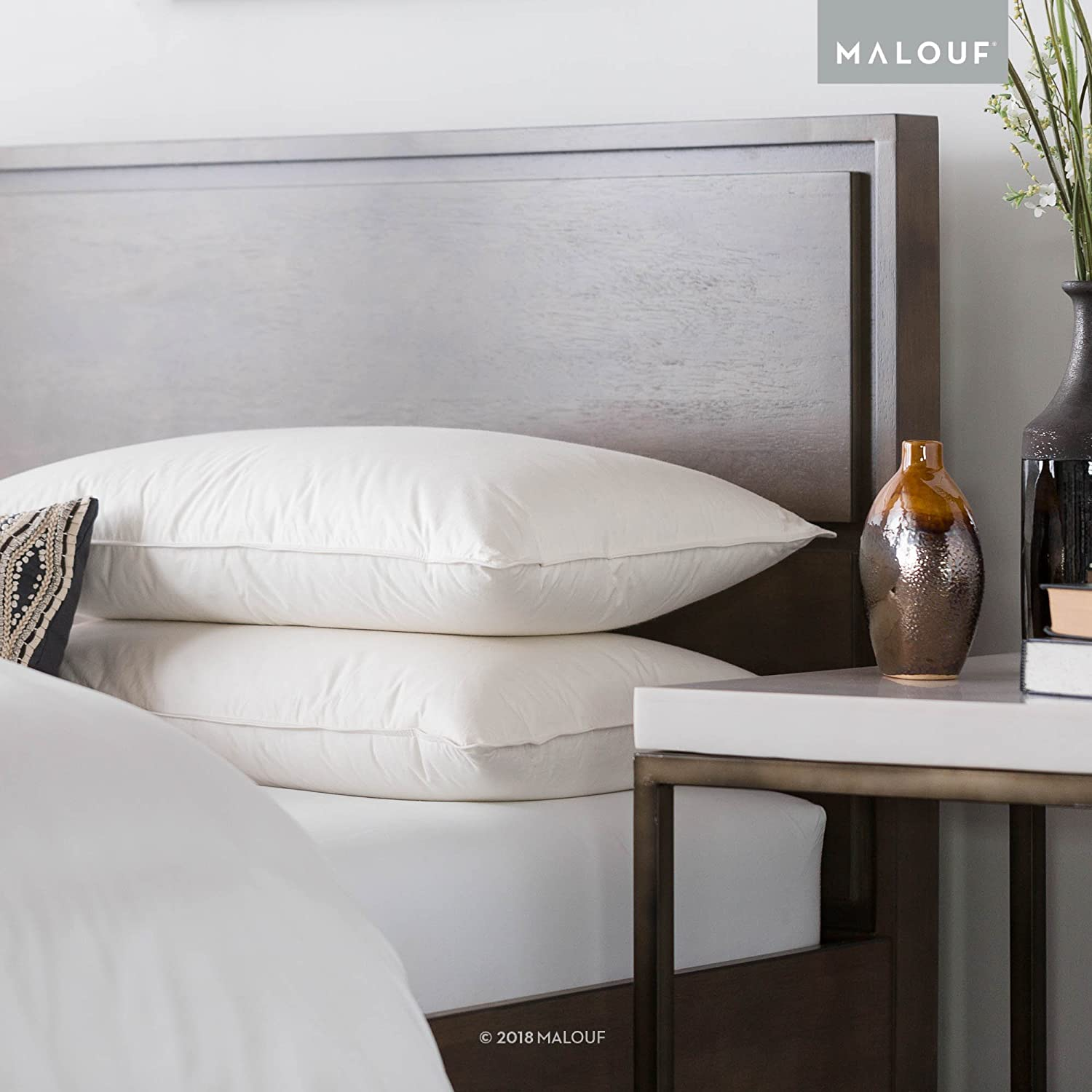 MALOUF Z TRIPLELAYER Down Pillow - 90 Percent Down Top and Bottom Layers - Inner Support Core - 100 Percent Natural Undyed Cotton Percale Cover - Responsibly Harvested - King high-quality