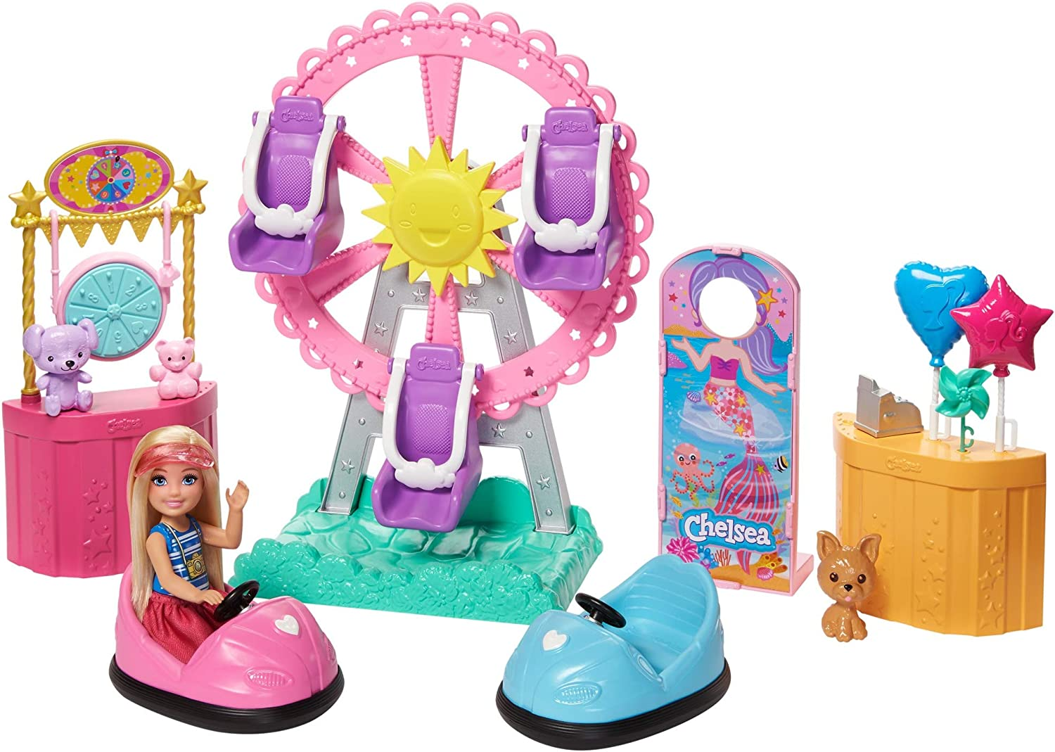 Barbie Club Chelsea Doll and Carnival Playset, 6-inch Blonde Wearing Fashion and Accessories, with Ferris Wheel, Bumper Cars, Puppy and More, Gift for 3 to 7 Year Olds: Toys & Games