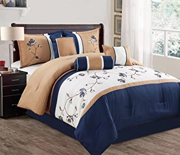 Modern 7 Piece Bedding Navy Blue / Taupe / White Vine Embroidered QUEEN  Comforter Set with accent pillows