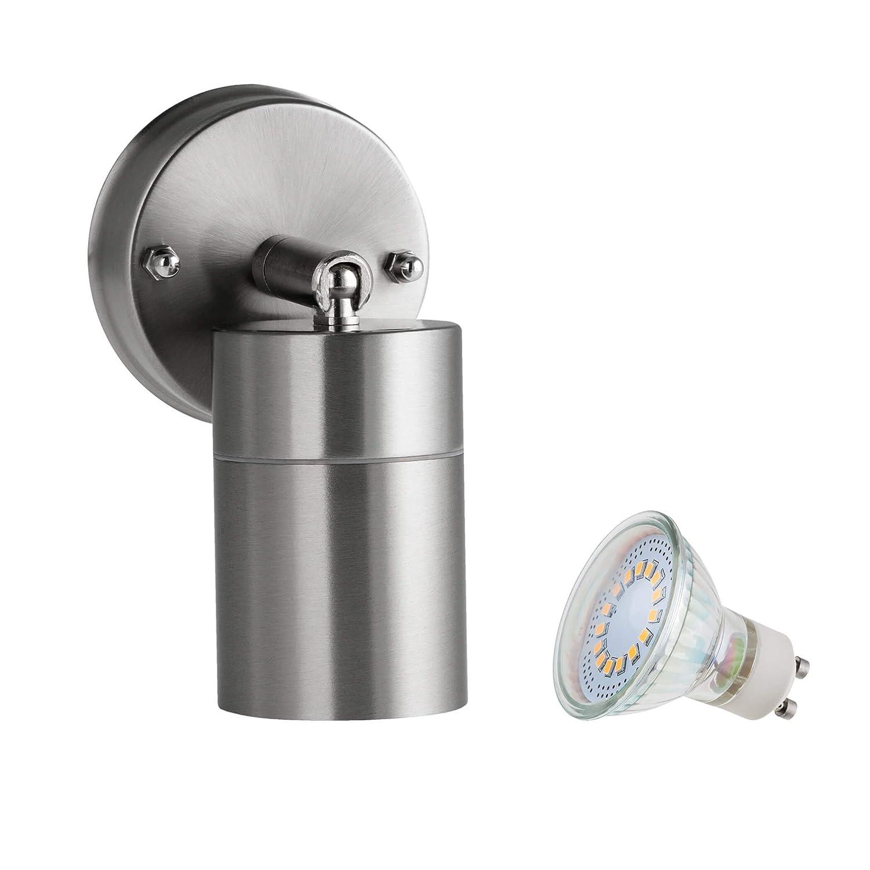 SEBSON Aussenleuchte, Wandleuchte, Edelstahl inkl. GU10 LED Lampe 4W (3,5W) kaltweiß [Energieklasse A++] 5W) kaltweiß WAL_B_LED