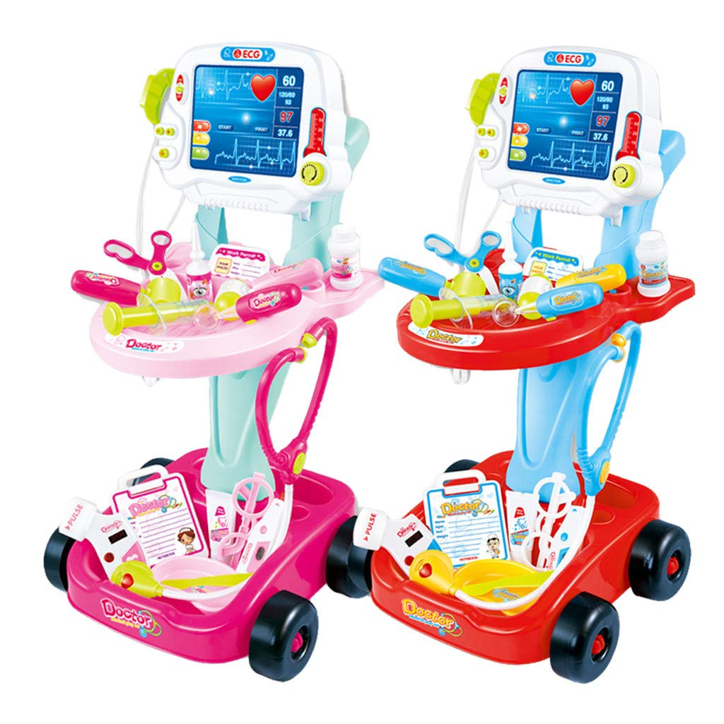 US Fast Shipment Jiayit Children's Doctor Pretend Play Set With Electric Simulation ECG Medical And Stethoscope Kit Toy House Toy (Pink)