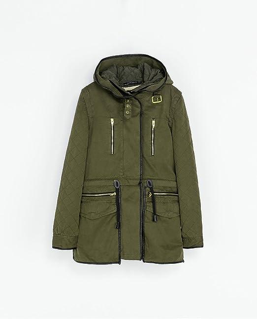 Zara con capucha caqui para abrigos forro de interiores extraíbles Borg tamaño de la funda de: tamaño mediano: Amazon.es: Ropa y accesorios