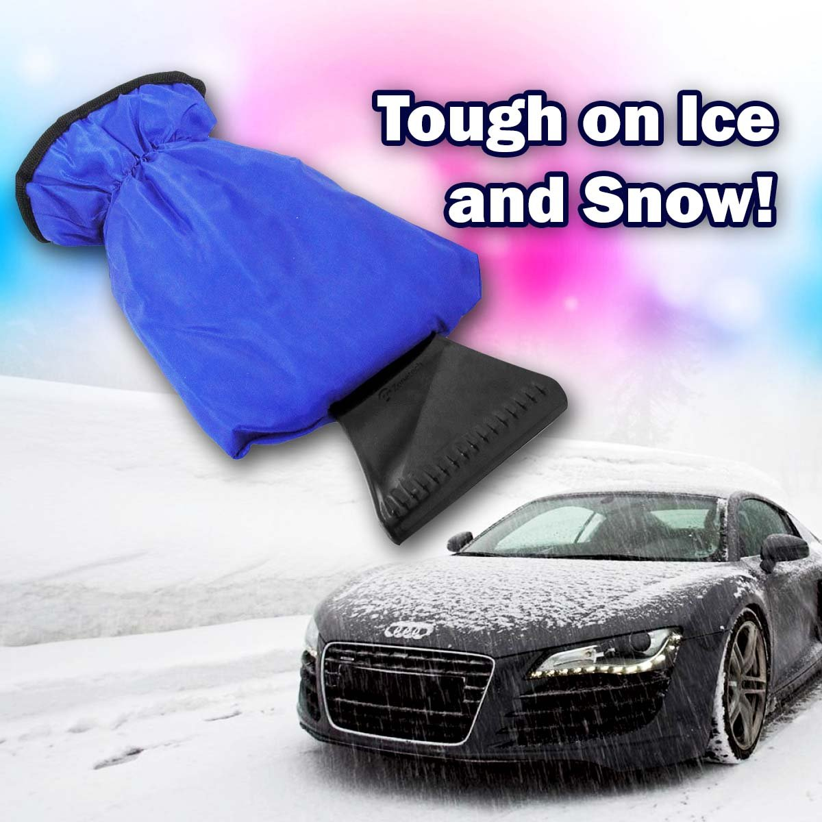 Zone Tech Blue Waterproof Ice Scraper Vehicle Mitt Car Windshield Snow Remover Glove