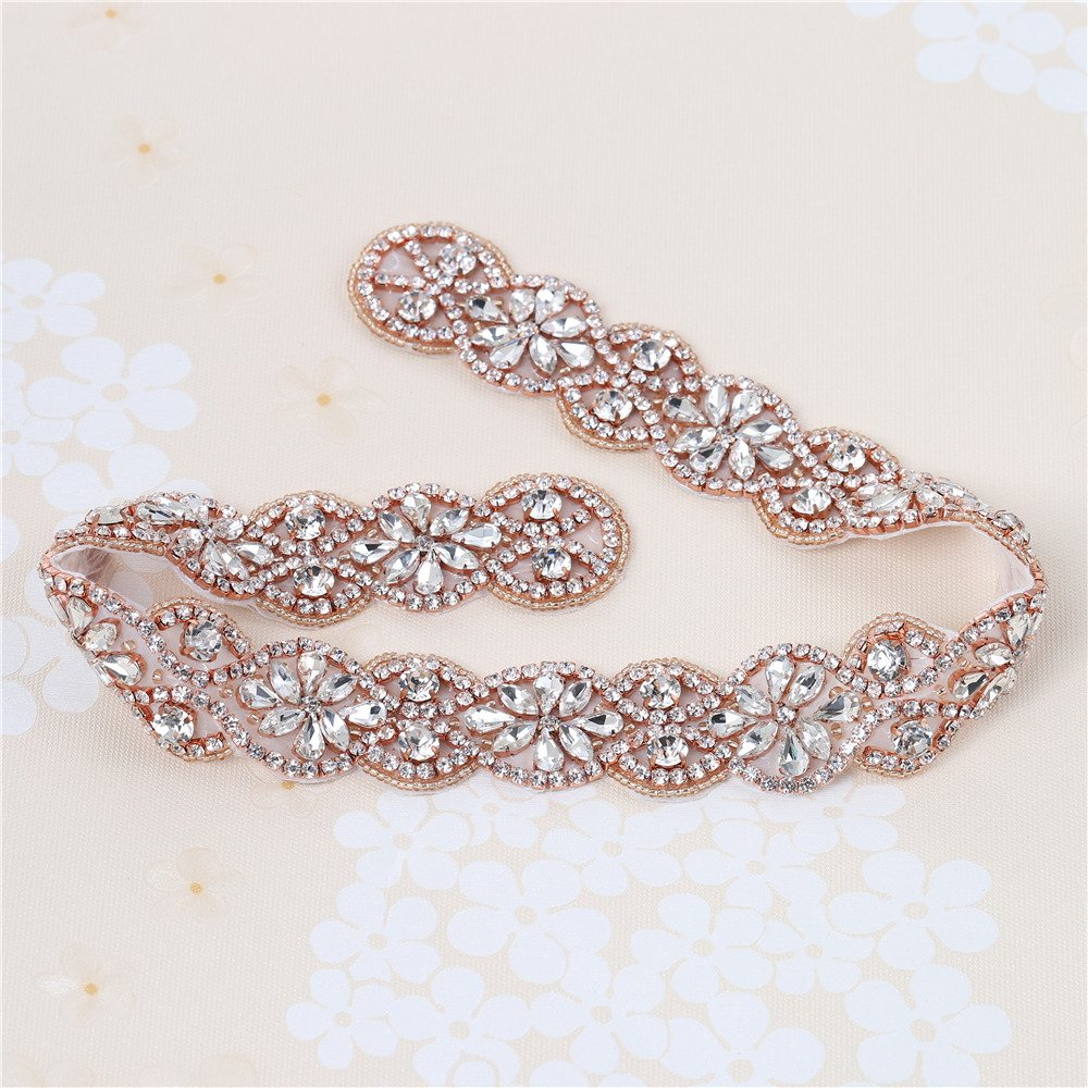 XINFANGXIU Rose Gold Bridal Rhinestone Appliques Sash Crystal Wedding Dress Belt Sew on Iron on for Formal Dress by XINFANGXIU (Image #2)