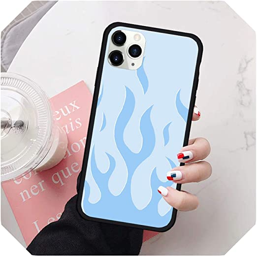 Neon flame blue green black case Flame iPhone Case