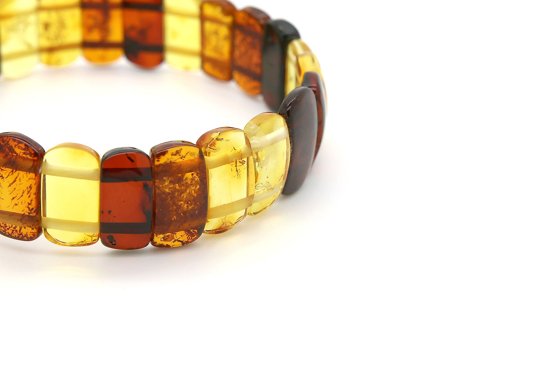Genuine Natural Baltic Multicolored Amber Stretch Bracelet For Women by AmberDeals (Image #3)