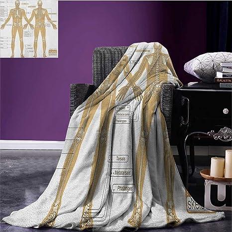 amazon com human anatomy cool blanket diagram of human skeleton