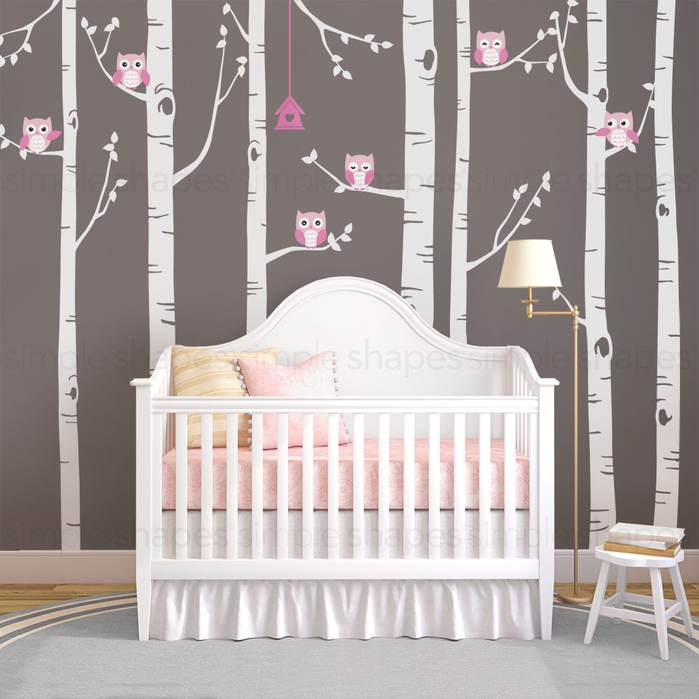 96 by Simple Shapes Birch Tree with Owl Wall Decal Tall Trees 243 cm Scheme A