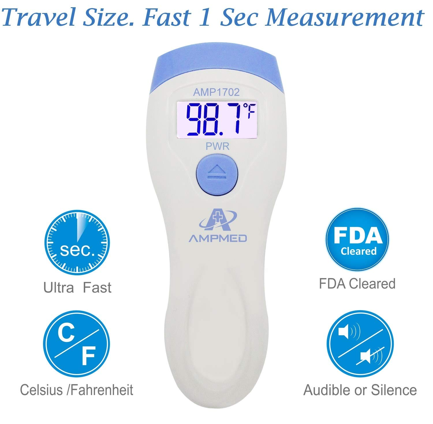 Amplim FDA Approved Medical Hospital Grade Non Contact Infrared Forehead Thermometer. Best Baby/Kid/Infant/Toddler/Child/Adult/Professional/Clinical Digital No Touch Travel Fever Thermometer. New 2018