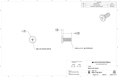 M0.6-0.15 x 5mm Machine Screw Stainless Steel Pan Head Phillips Drive 100 pcs M06-50-M-SS-P US Micro Screw