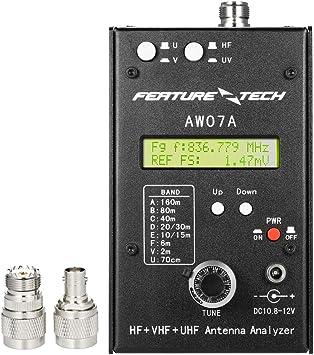 Baugger Analizador de Antena Aw07A - Aw07A Hf/Vhf/Uhf 160M Impedancia Swr Medidor Analizador de Antena para Radioaficionados Aficionados Diy