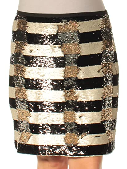 f601632d9663e Vince Camuto Womens Black Sequined Striped Knee Length Pencil Party Skirt  Size: 12: Amazon.co.uk: Clothing