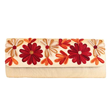 Handmade Womens Cream Floral Clutch Purse Evening bag