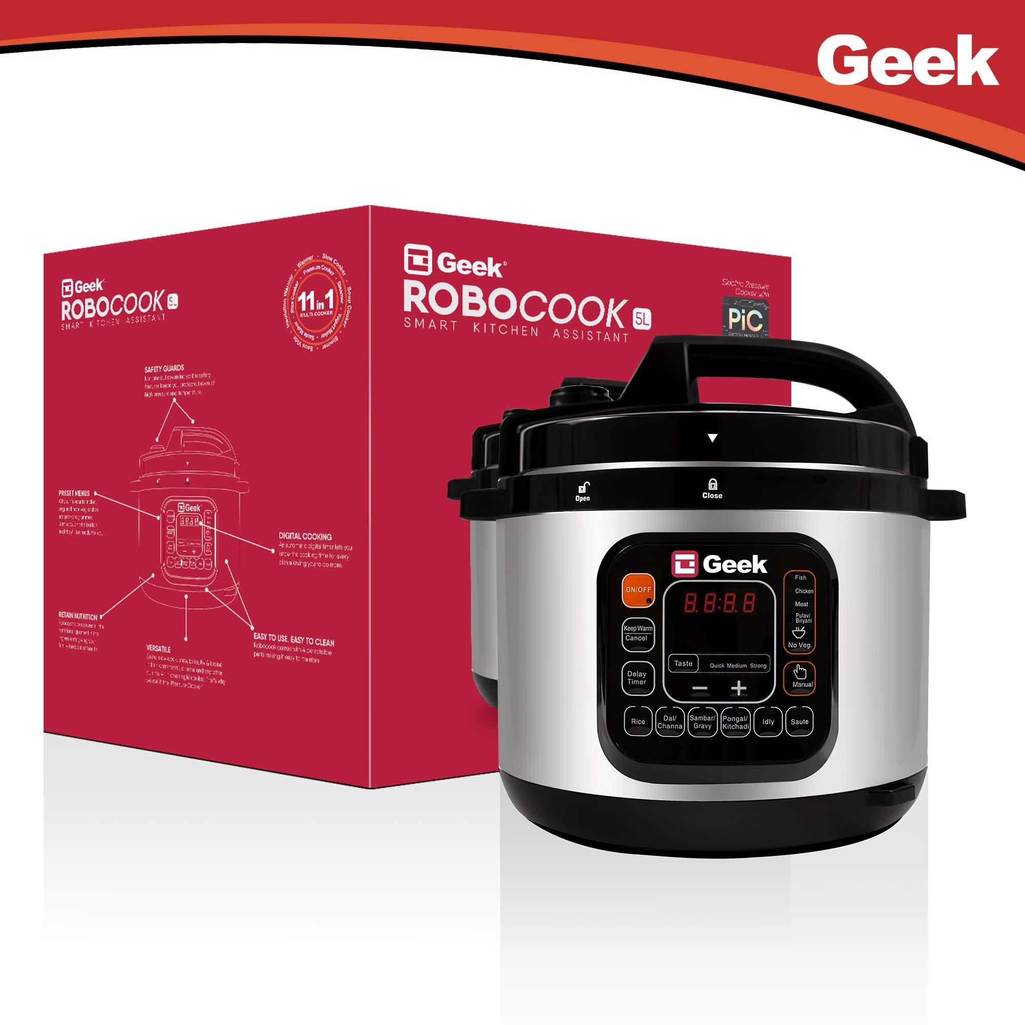 Image result for Geek Robocook Automatic 5L Electric Pressure Cooker with 11-in-1 function