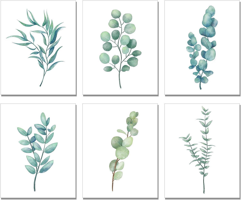 "Homanga Botanical Plant Wall Art Prints,Eucalyptus Leaves, Set of 6, Watercolor Plant Wall Decor Canvas, Green Botanical Poster Set for Bed Room Living Room Home Office Wall Art Decor (8""x10"", UNFRAMED)"