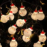 Christmas Lights, 16 Feet Christmas Lights Decoration Christmas Snowman Lights String with 30 Warm White Led Lights for Christmas Decoration Christmas Party Supplies
