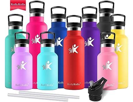 KollyKolla Botella de Agua Acero Inoxidable - 350ml/500ml/600ml/750ml, Termo Sin BPA Ecológica Reutilizable, Botella Termica con Pajita y Filtro, ...