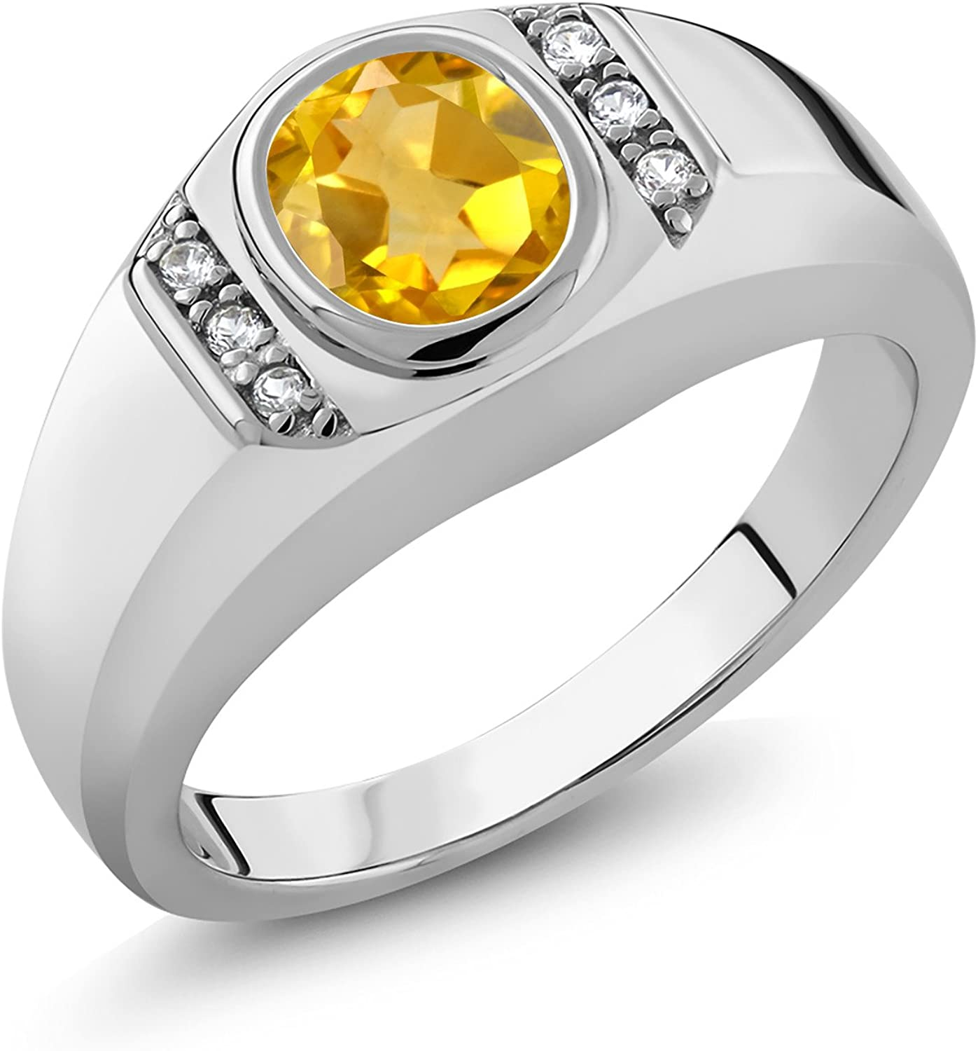 Gem Stone King 925 Sterling Silver Yellow Citrine and Black Diamond Mens Ring 1.53 Cttw Round, Available 7,8,9,10,11,12,13