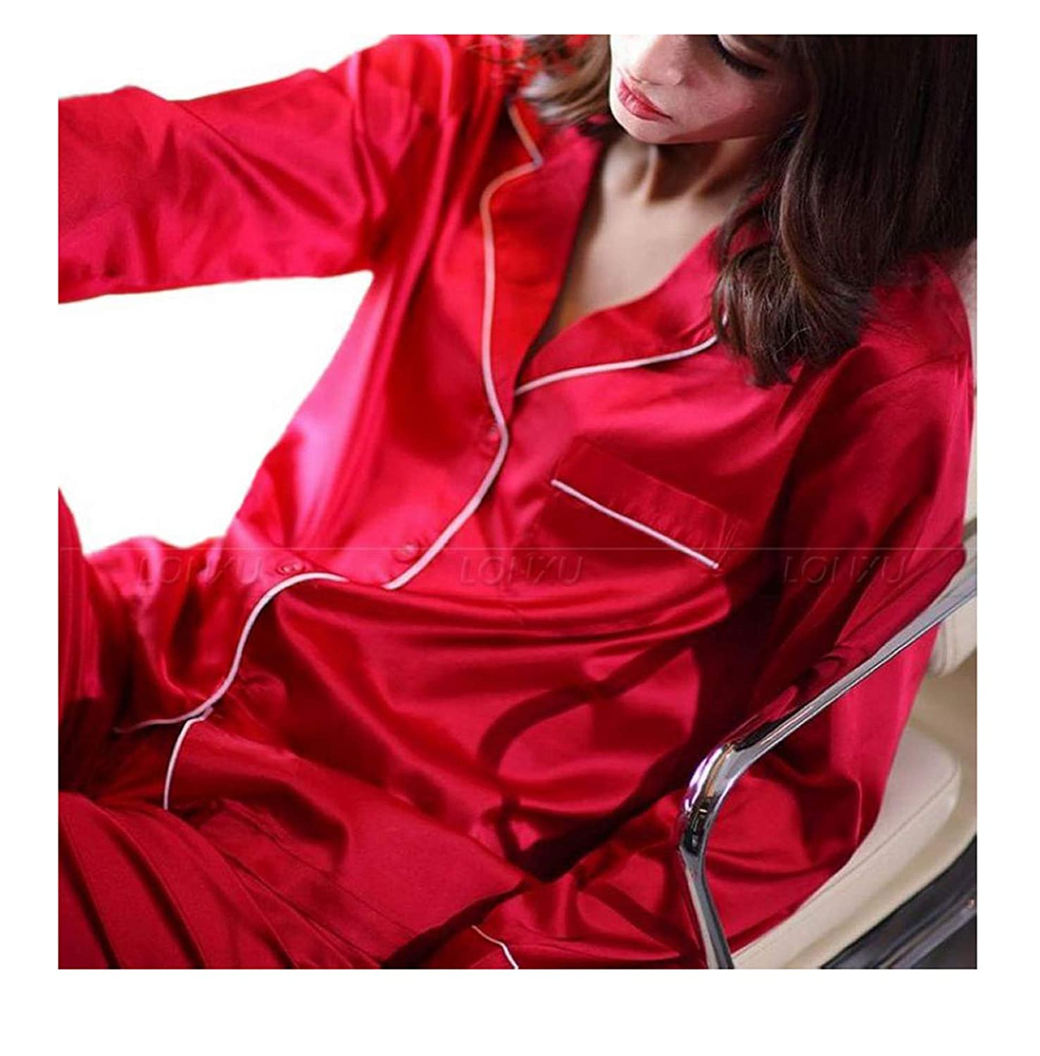 Rnhejingji Womens Silk Satin Pajamas Pyjamas Set Sleepwear Loungewear ~3XL Plus Size