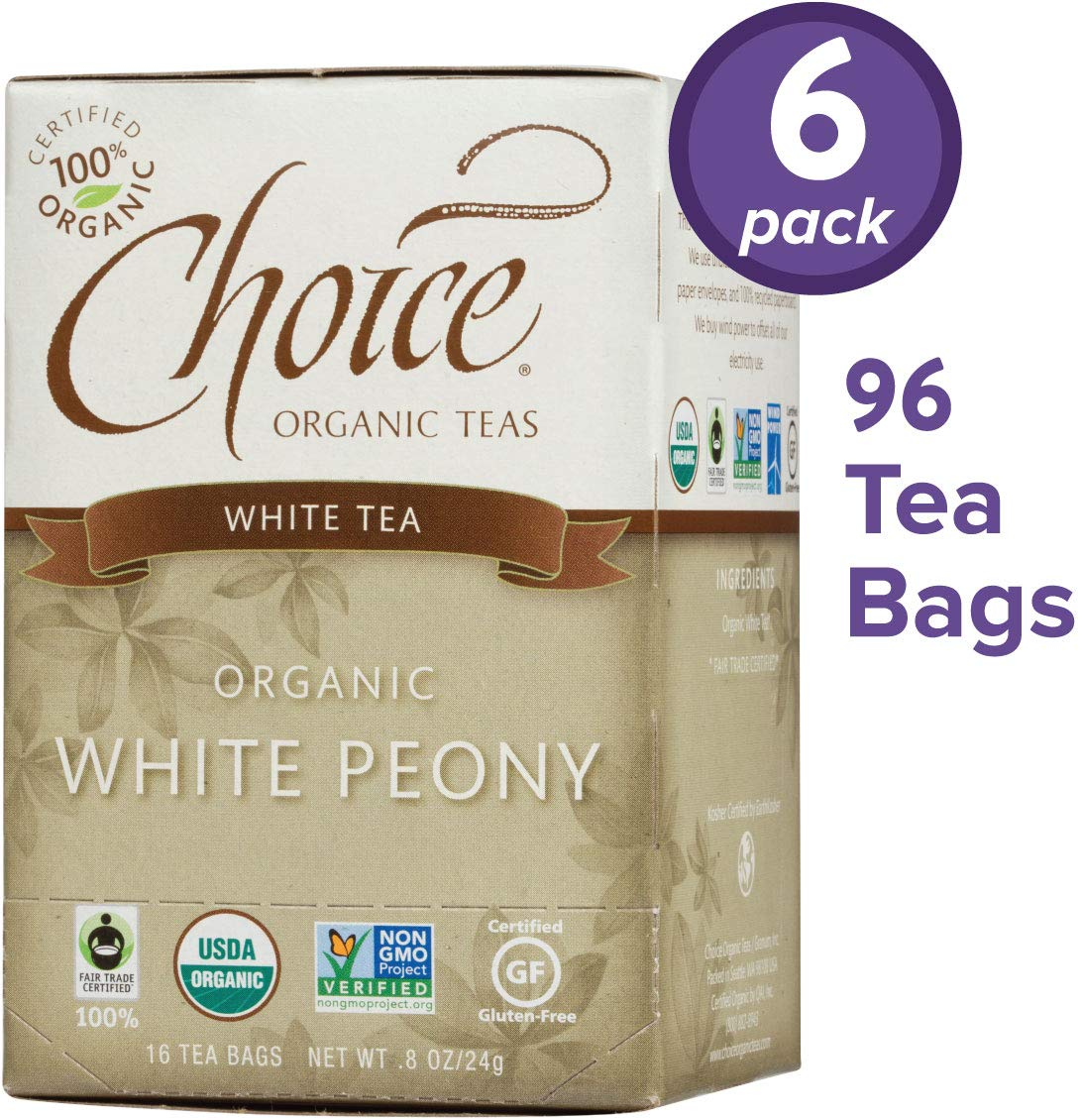 Choice Organic Teas White Tea, 6 Boxes of 16 (96 Tea Bags), White Peony by Choice Organic Teas