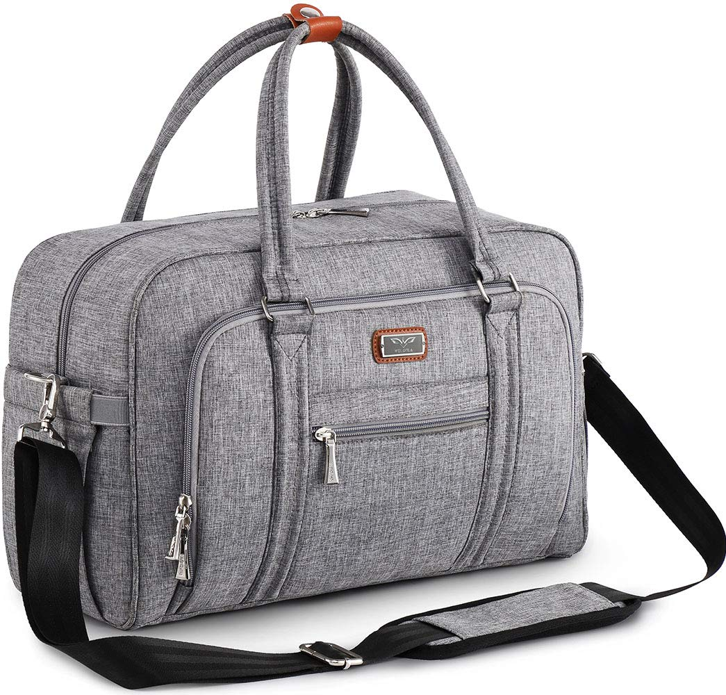 Bolso cambiador para pañales para mamá y papá, con cambiador y bolsillos aislados, bolsa de viaje convertible, color gris