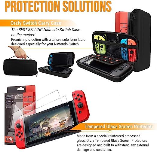 Orzly Kit Accesorios para Nintendo Switch Geek Pack con: Funda y Protector de Pantalla Switch, Empuñaduras & Volante para mandos Joy-con, Una Base de Carga USB y Un Soporte portátil, y más. [