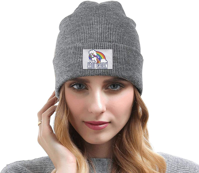 Headwear for Mens Womens Warm Slouchy Solid Color Rainbow Hail Satan Unicorn Knit Cap