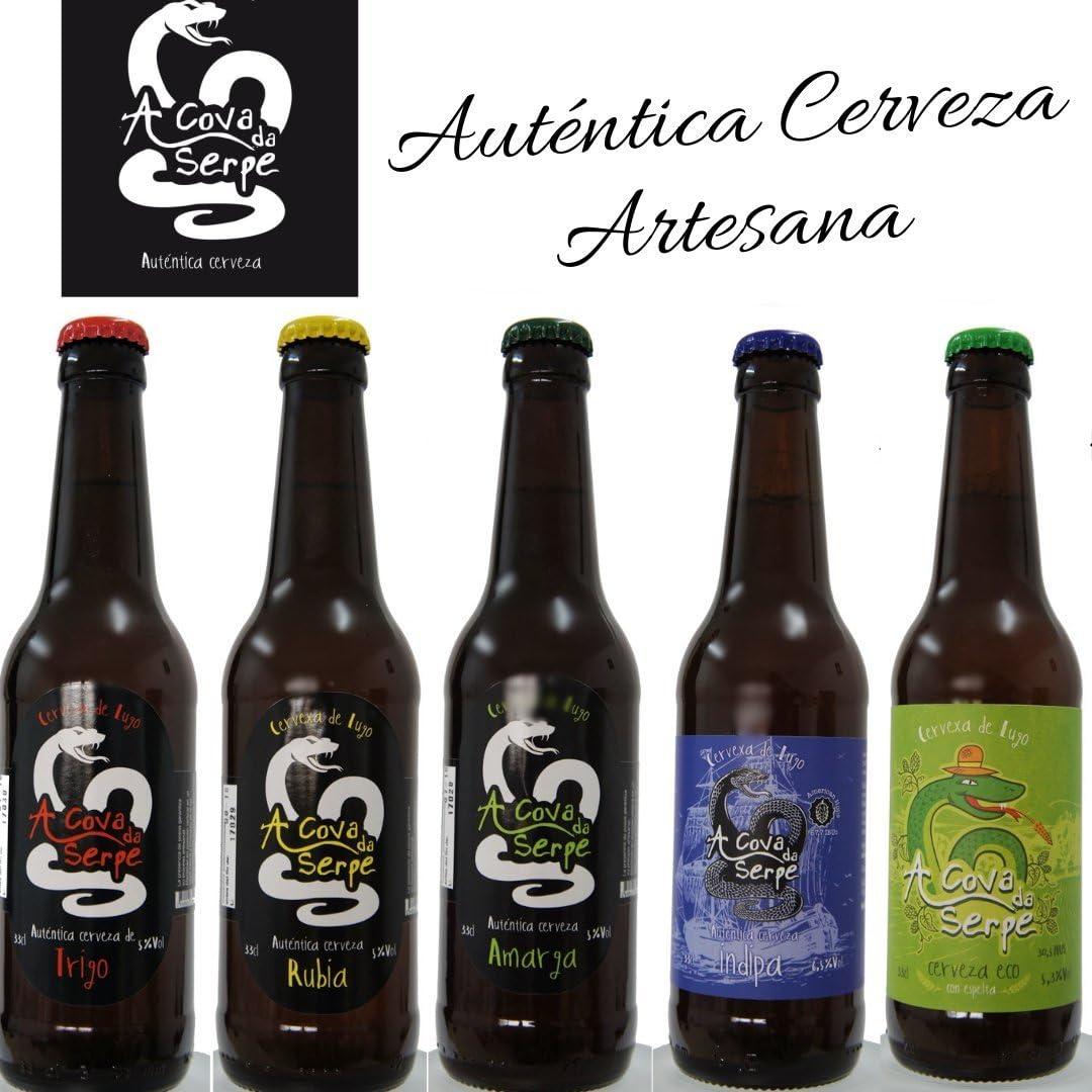 Pack de Cervezas Artesanas Degustación A Cova da Serpe (5x33cl). A ...