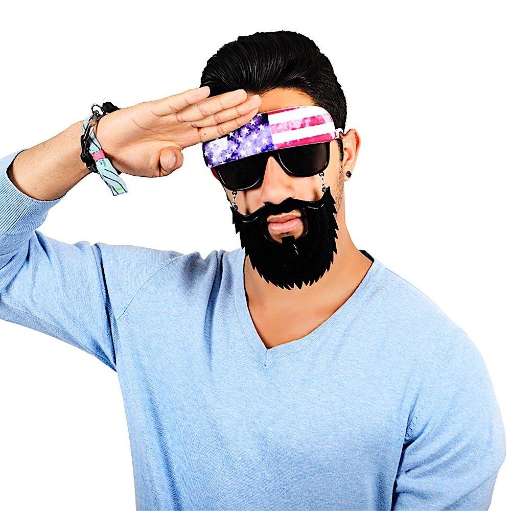 9f40d4e2340b Amazon.com  Sun-Staches Costume Sunglasses American Trucker Party Favors  UV400  Toys   Games