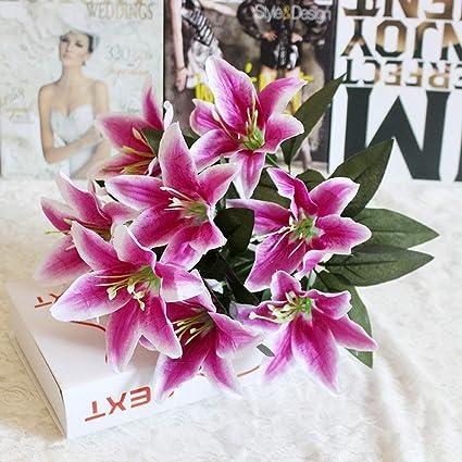 Bouquet Sposa Vero O Finto.Spary Artificiale Giglio Bouquet 10 Teste Finto Seta Gigli Fiore