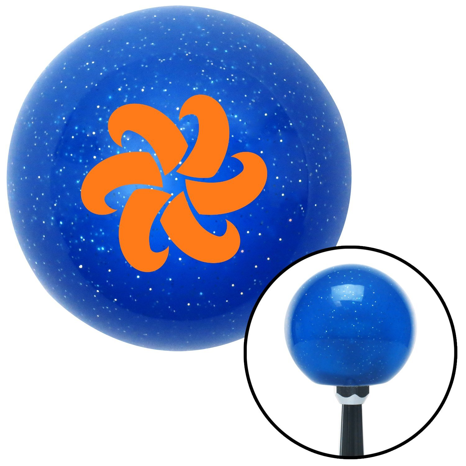 Orange Fan Blades Spinning American Shifter 23606 Blue Metal Flake Shift Knob