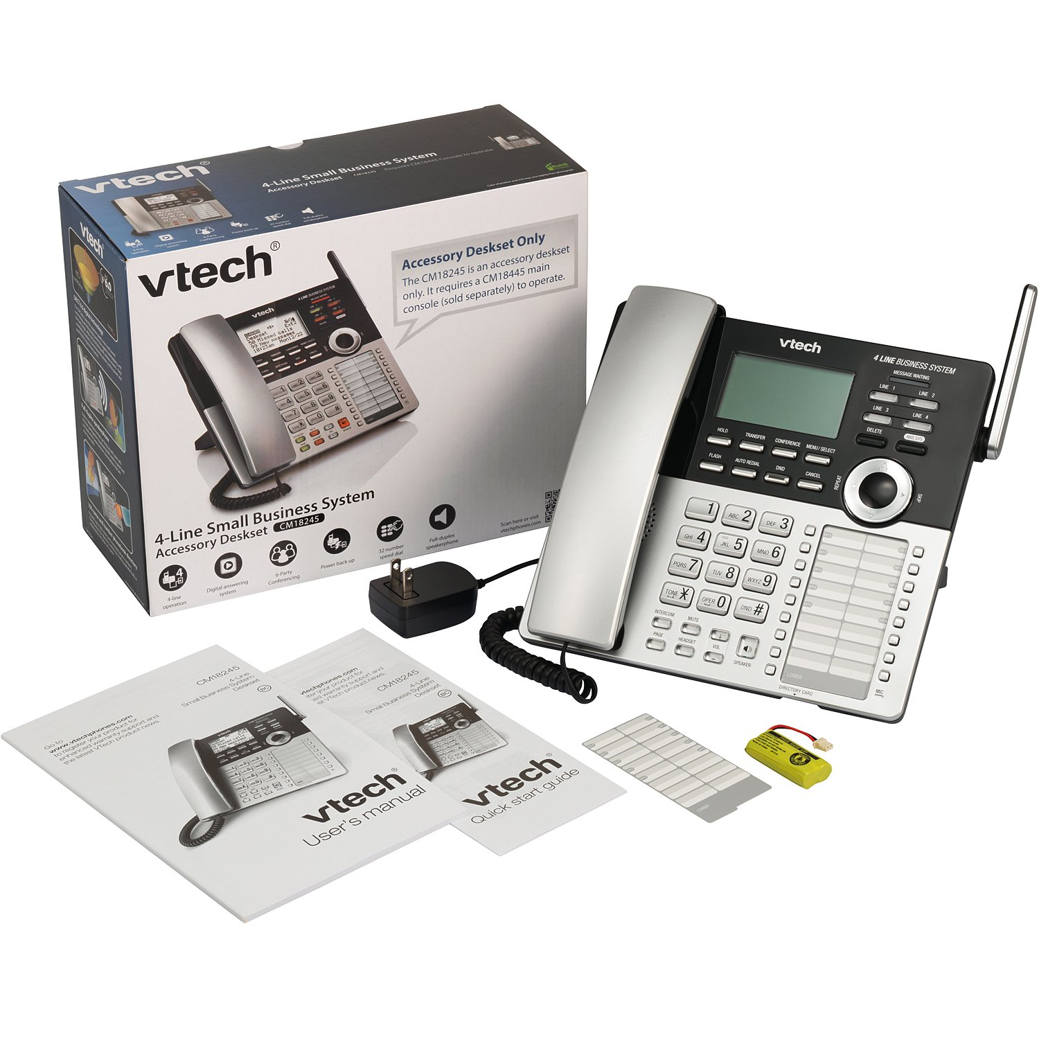 2a01db5e20e VTech 4-Line Small Business Phone System - Office Starter Bundle with 1  CM18445 Main