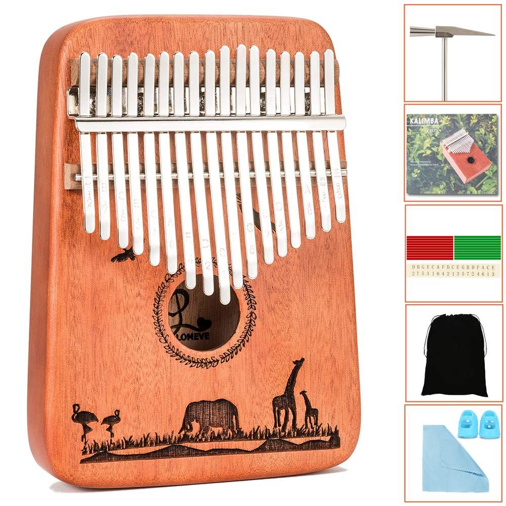 Kalimba 17 Keys Thumb Piano - Handmade Solid Mahogany Mbira Likembe Sanza with Tuning Hammer & Gift Accessories for Kids Adults Beginners Musicians