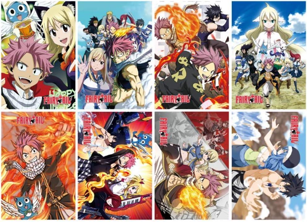Anime Poster 8 Pack - [Random ]Japan Anime Poster Comic Poster Cartoon Poster HD Anime Art Prints for Home Wall Decor (FAIRY TAIL)