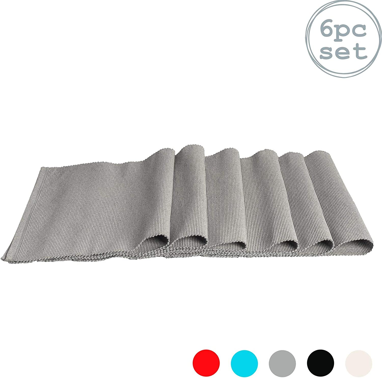 Grey 480 x 330mm Nicola Spring Ribbed Rectangular Cotton Dining Table Placemats Pack of 6
