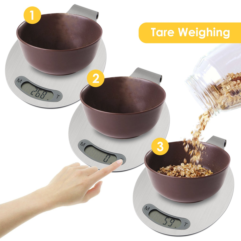 Aicok Bascula de Cocina Digital, 5 kg /11 lbs, Acabado en Acero Inoxidable, Se puede Colgar y Con Función de Tara: Amazon.es: Hogar