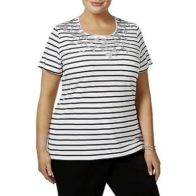 6953f91ff69 Karen Scott Womens Plus Striped Glittered T-Shirt B W 1X at Amazon ...