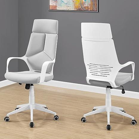 Amazon.com: Silla de oficina – blanco/gris tela/silla de ...